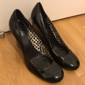 Black Patent Leather Coach Wedges
